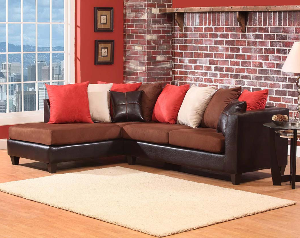 Fashionable Dark Brown Chocoloate Couch, 2 Pc. Sectional Sofa (Gallery 9 of 20)