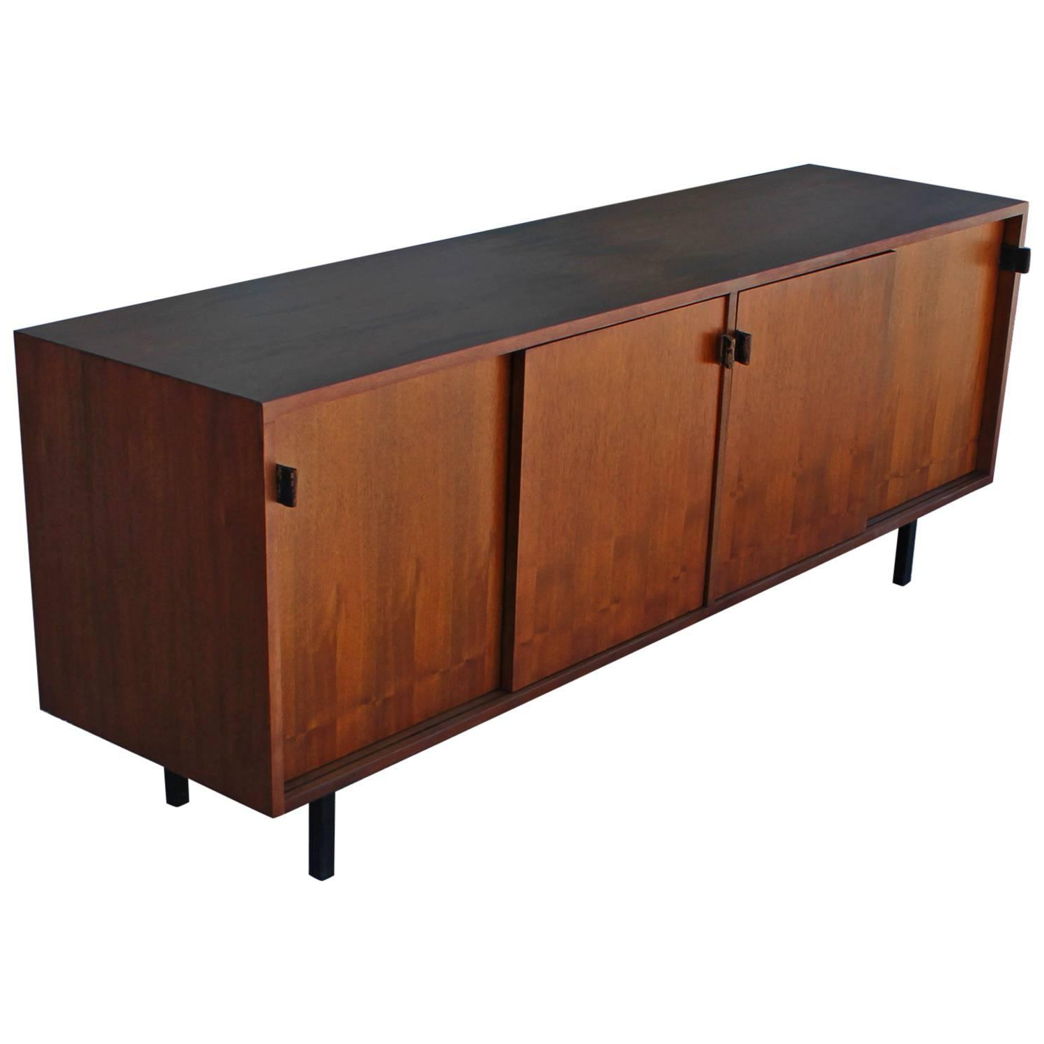 Fashionable Early Walnut Modern Knoll Sliding Door Sideboard With Vintage With Corrugated Natural 6 Door Sideboards (View 6 of 20)