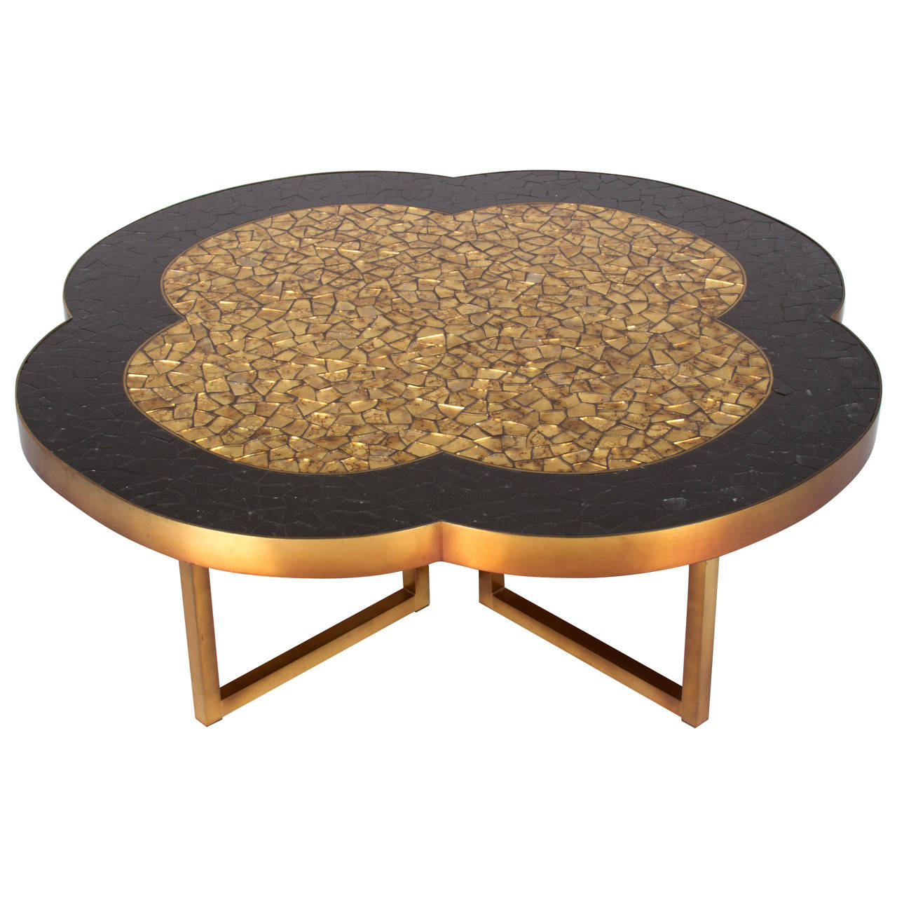 Fashionable Gold Leaf Collection Coffee Tables With Gold Leaf And Black Glass Mosaic Quatrefoil Coffee Table Black Ping (View 4 of 20)