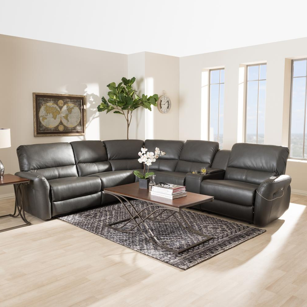 Fashionable Grey Leather Reclining Sectional – Tidex Within Tatum Dark Grey 2 Piece Sectionals With Laf Chaise (View 18 of 20)
