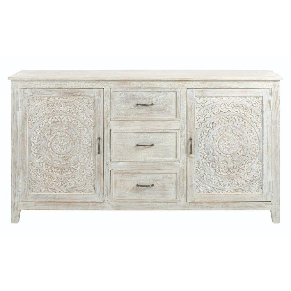 Fashionable Home Decorators Collection Chennai 3 Drawer White Wash Dresser Throughout 4 Door 3 Drawer White Wash Sideboards (Gallery 3 of 20)
