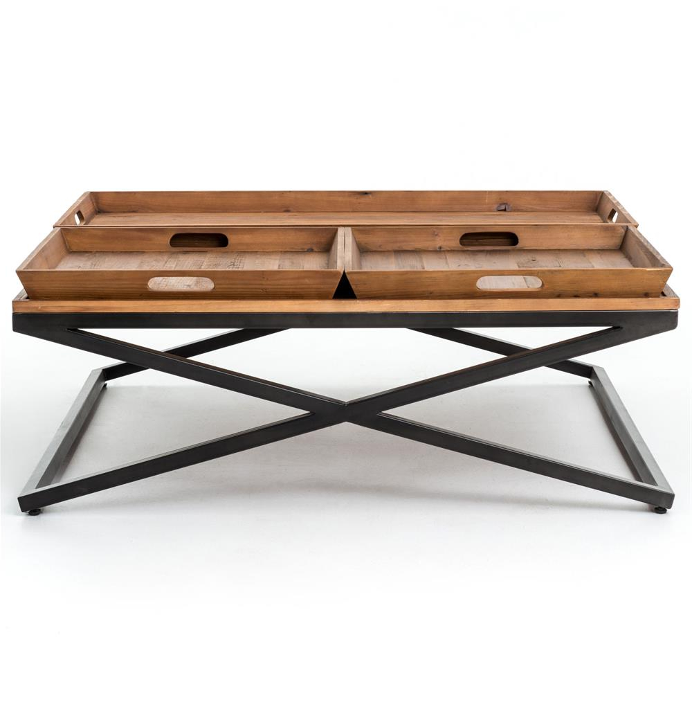 Fashionable Jaxon Cocktail Tables Throughout Jaxon Trio Tray Top Wood Iron Industrial Square Coffee Table (Gallery 2 of 20)