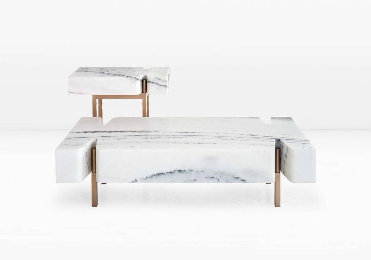 Fashionable Large Slab Marble Coffee Tables With Antiqued Silver Base Regarding Terranova Coffee Table Or Cocktail Table With Hewn Marble Top And (View 7 of 20)