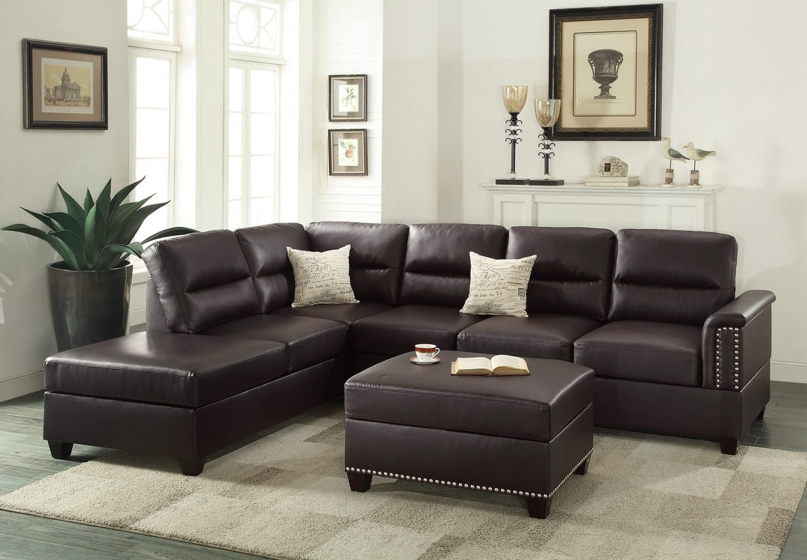 Fashionable Leather & Fabric Sectional Sofas In Avery 2 Piece Sectionals With Raf Armless Chaise (View 13 of 20)