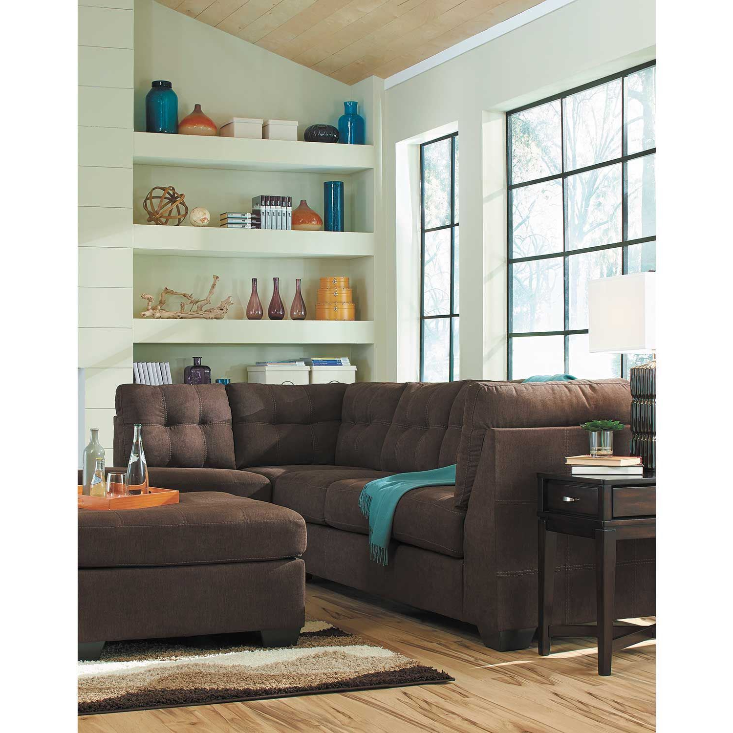Fashionable Maier Walnut 2 Piece Sectional With Laf Chaise (View 8 of 20)