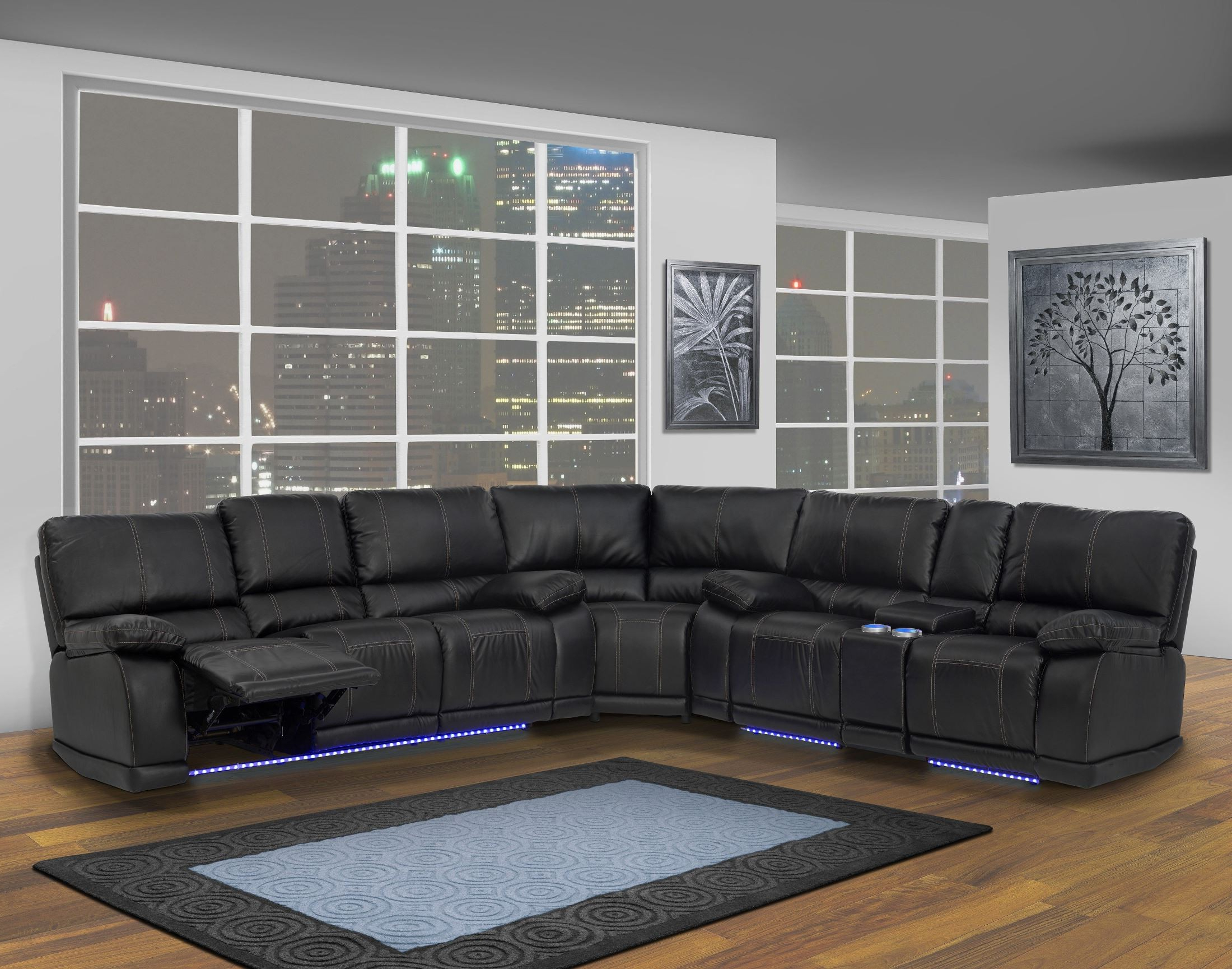 Fashionable Mesa Foam 2 Piece Sectionals Within Electra Mesa Black Power Reclining Sectional From New Classics ( (View 4 of 20)