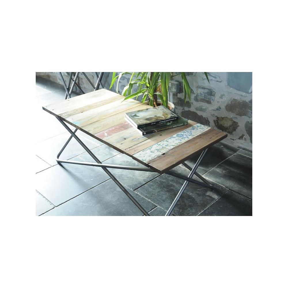 Fashionable Minimalist Coffee Tables Inside Reclaimed Wood Side Coffee Table Tubular Silver Legs (View 3 of 20)