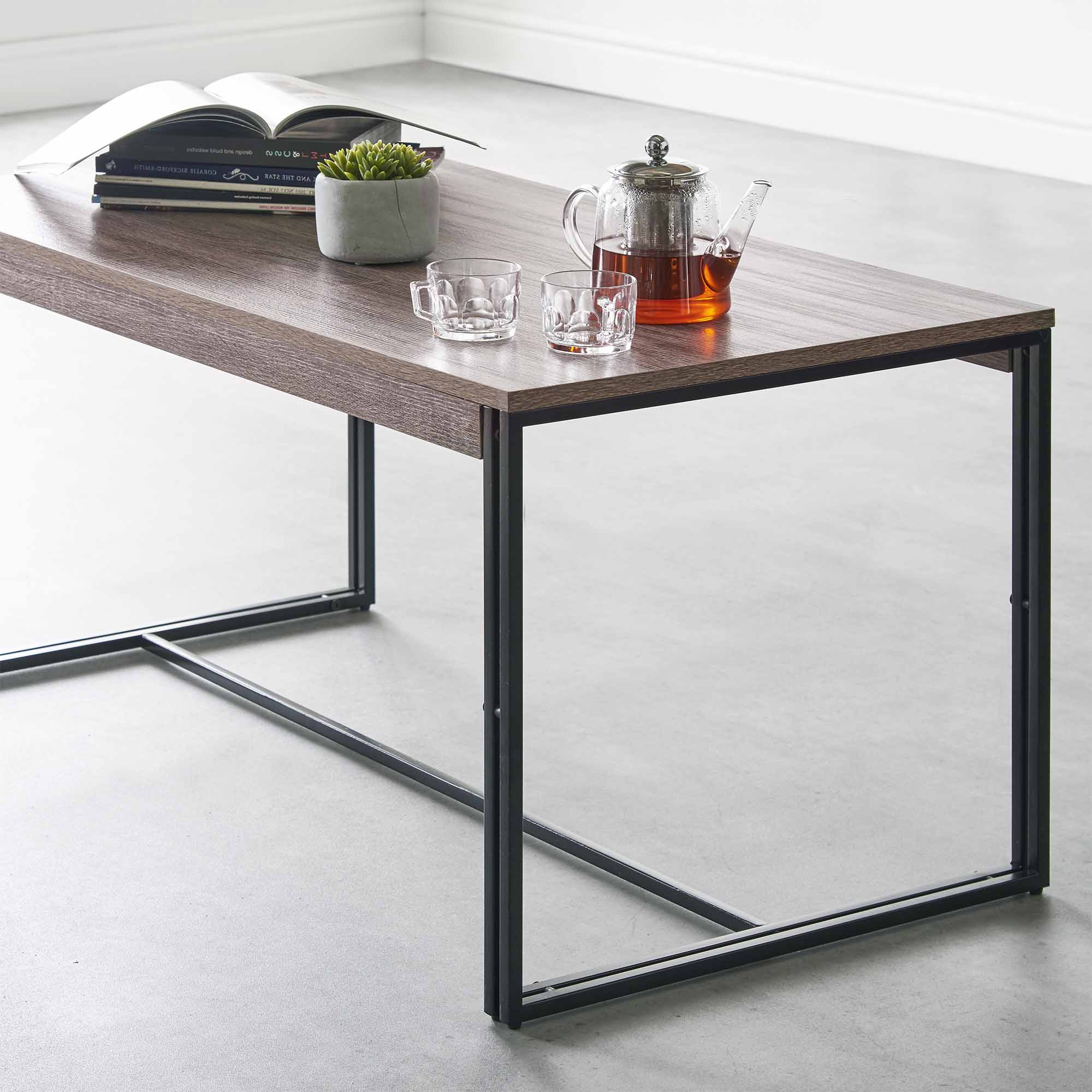 Fashionable Modern Rustic Coffee Tables Intended For Vonhaus Rustic Coffee Table Modern Industrial Urban Design Living (View 5 of 20)