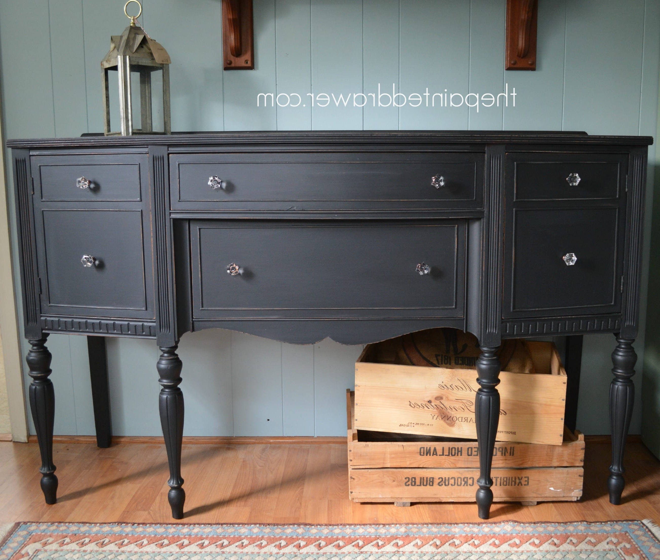 Fashionable Paint Color Highlight – General Finishes Lamp Black Milk Paint – Inside Satin Black & Painted White Sideboards (Gallery 9 of 20)