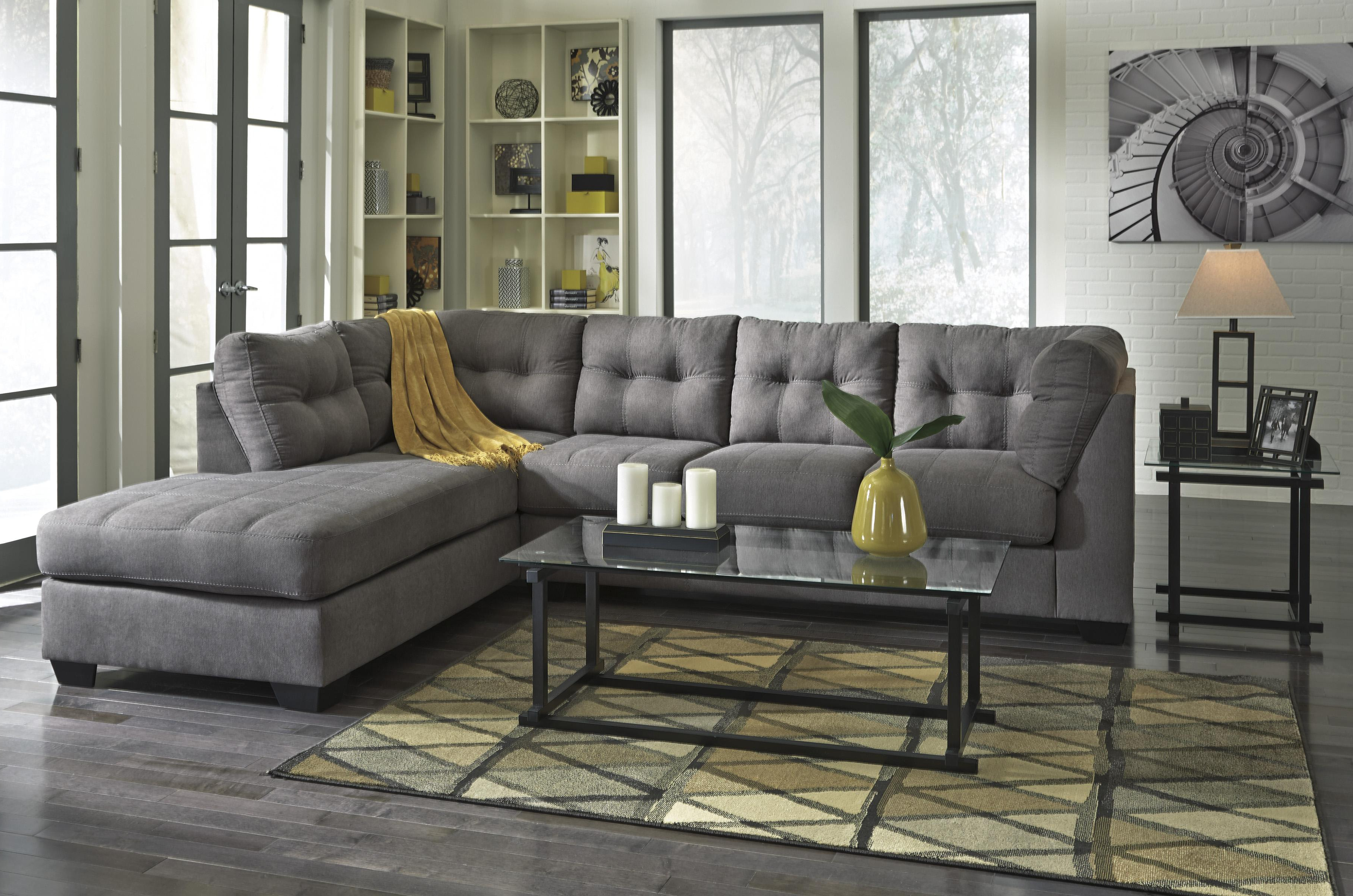 Fashionable Piece Sectional With Right Chaise Benchcraft Wolf And Products Color Regarding Aspen 2 Piece Sleeper Sectionals With Raf Chaise (View 10 of 20)