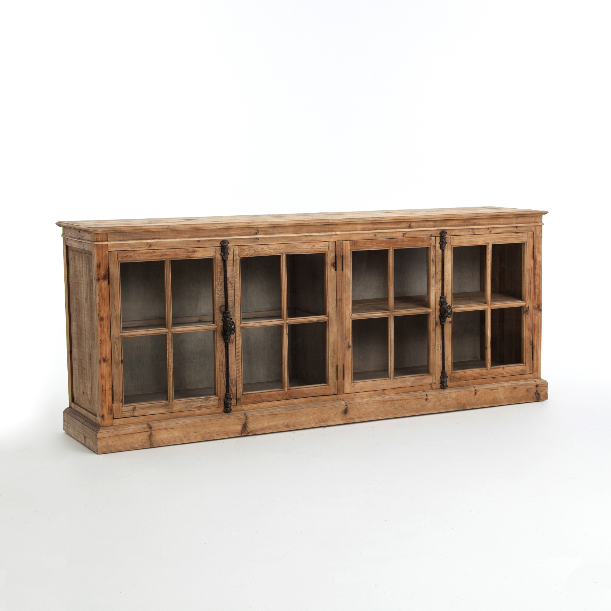 Fashionable Reclaimed Pine & Iron 4 Door Sideboards Throughout Monaco Sideboard Bleached Pine – Boulevard Urban Living (Gallery 18 of 20)