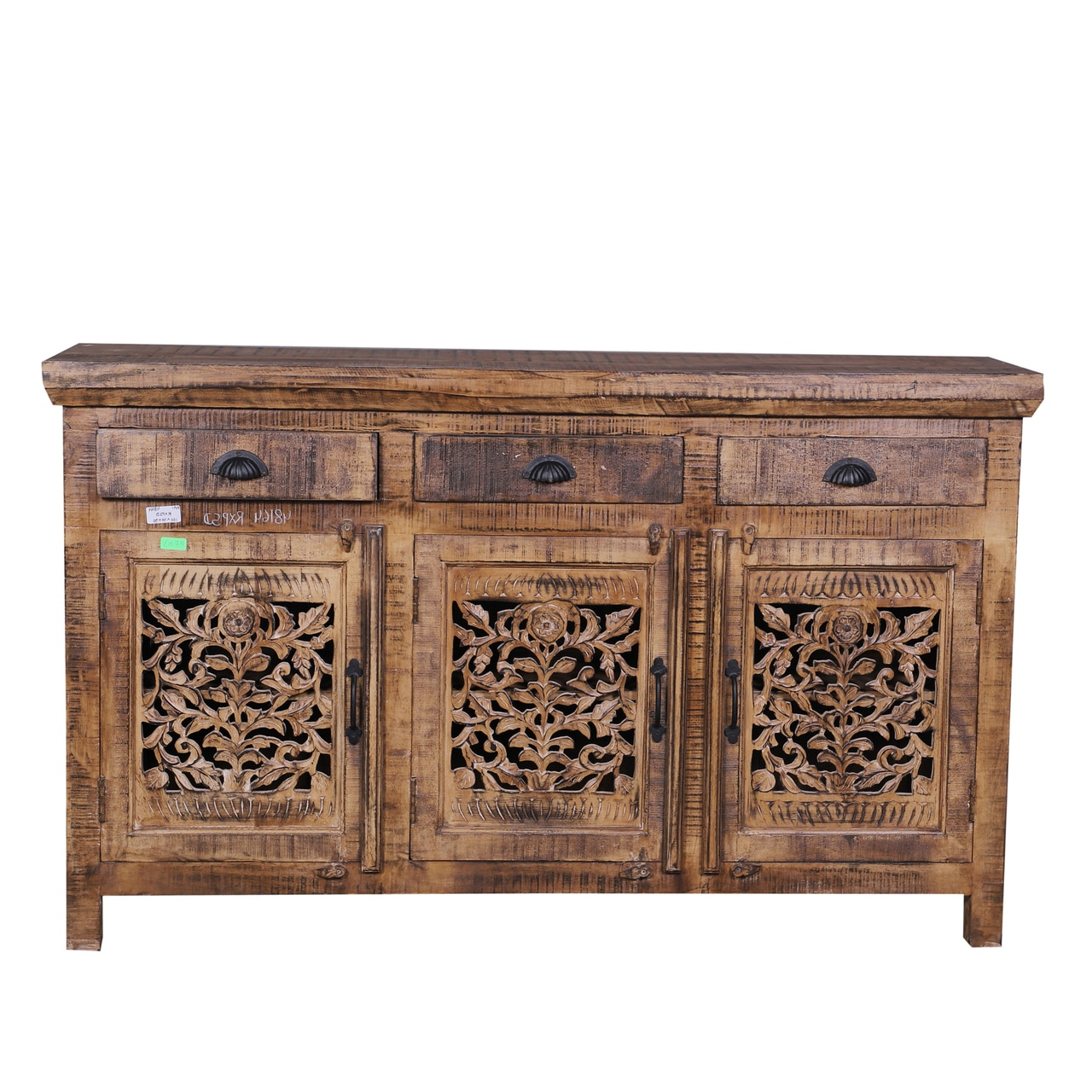 Fashionable Reclaimed Sideboards With Metal Panel With Carved Door Credenza Sideboard Buffets – Reclaimed Wood Furniture (View 8 of 20)