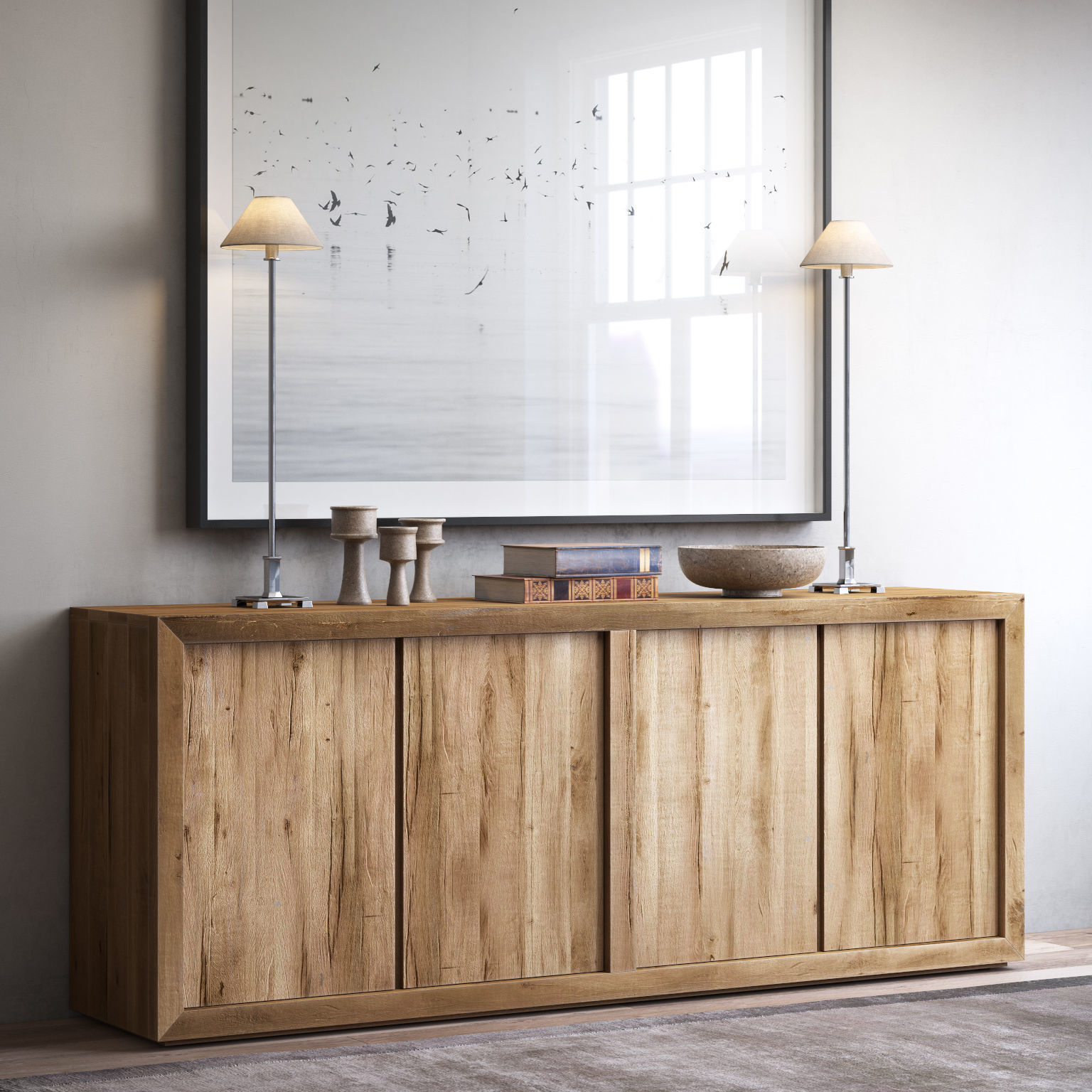 Fashionable Reclaimed Sideboards With Metal Panel With Regard To Reclaimed Russian Oak Panel 4 Door Wood Sideboard 3D Model Max Obj (Gallery 7 of 20)