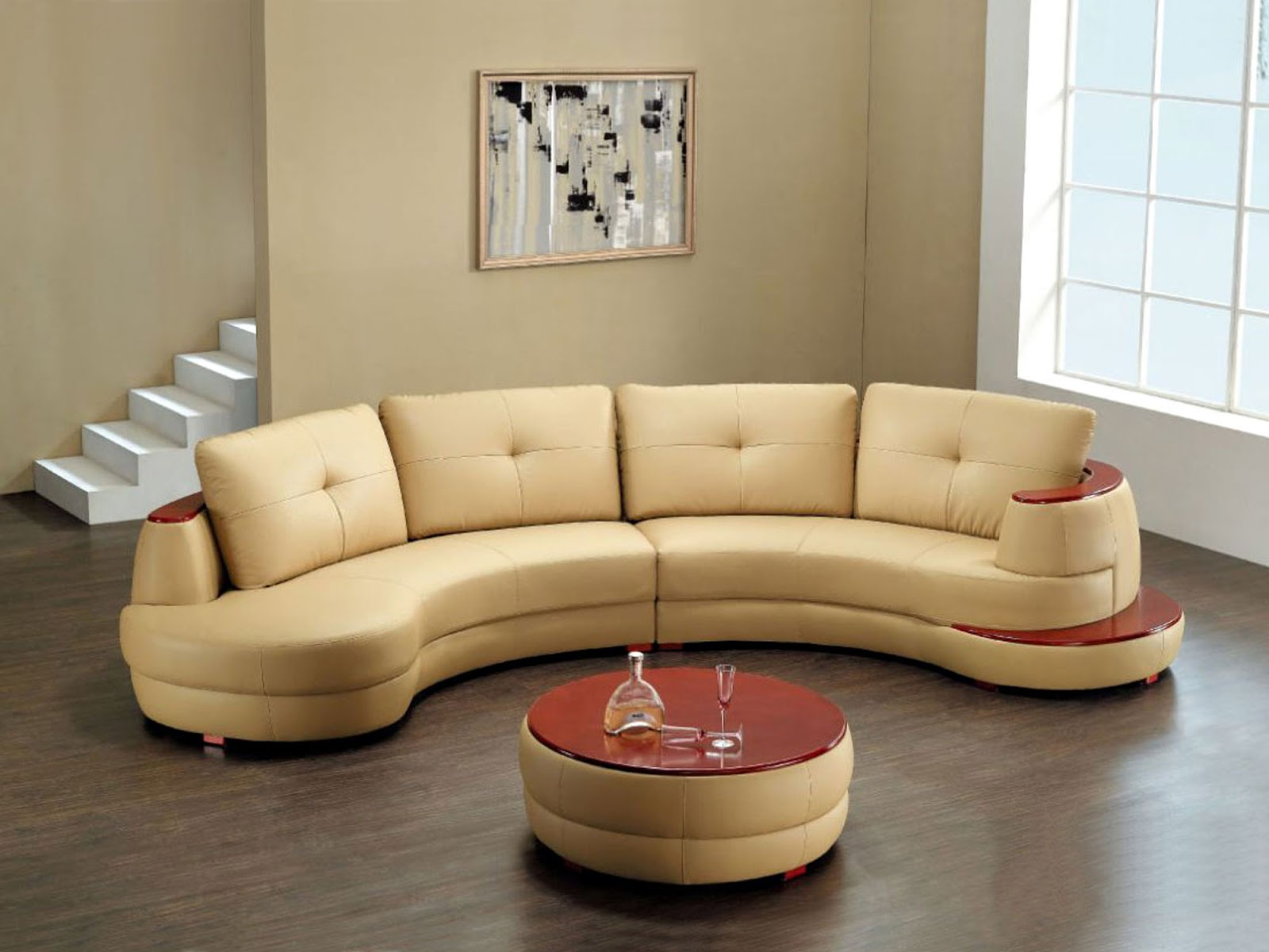 Fashionable Round Shaped Black Leather Sectional Sofa (View 19 of 20)