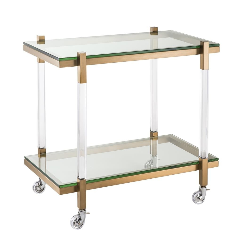 Fashionable Royalton Clear Acrylic & Brushed Brass Trolley (Gallery 13 of 20)