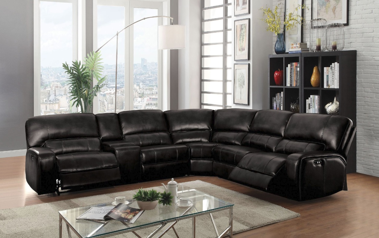 Fashionable Saul Sectional Sofa With 2 Power Recliners, Black Leather Aire Throughout Tess 2 Piece Power Reclining Sectionals With Laf Chaise (Gallery 4 of 20)