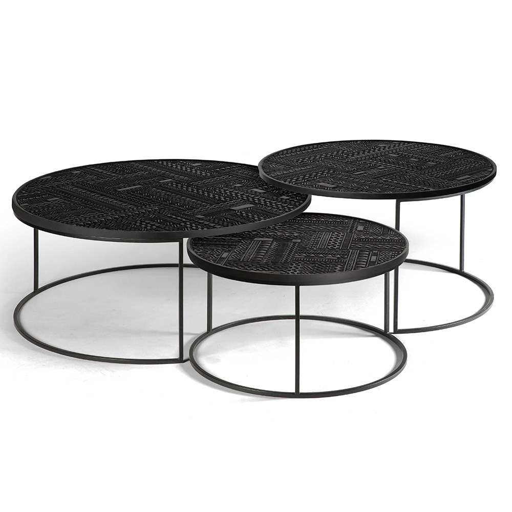 Fashionable Set Of Nesting Coffee Tables With Ancestors Tabwa Round Nesting Coffee Table – Set Of 3 – Rouse Home (View 7 of 20)