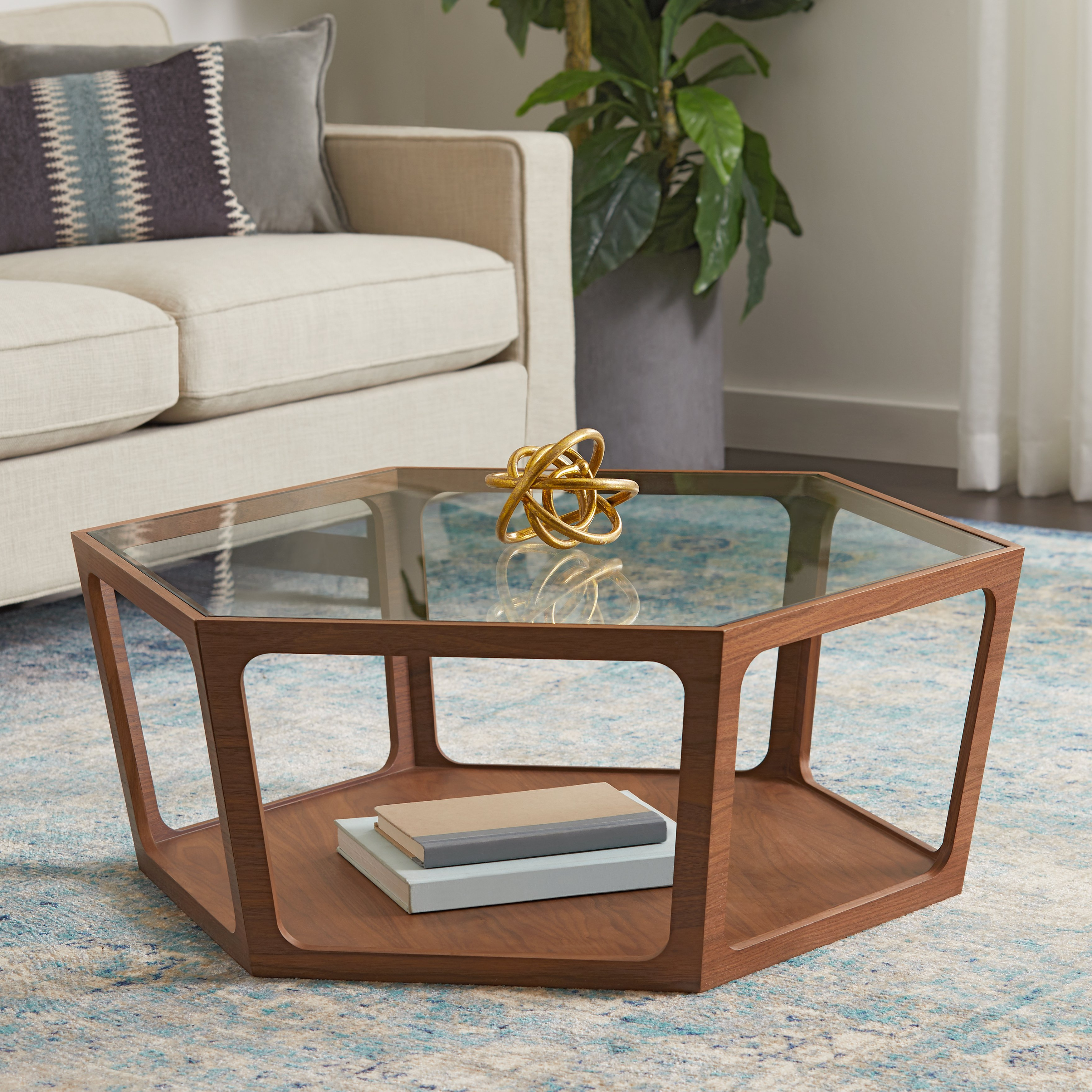 Fashionable Shop Abbyson Verona Walnut Coffee Table – On Sale – Free Shipping Regarding Verona Cocktail Tables (Gallery 6 of 20)