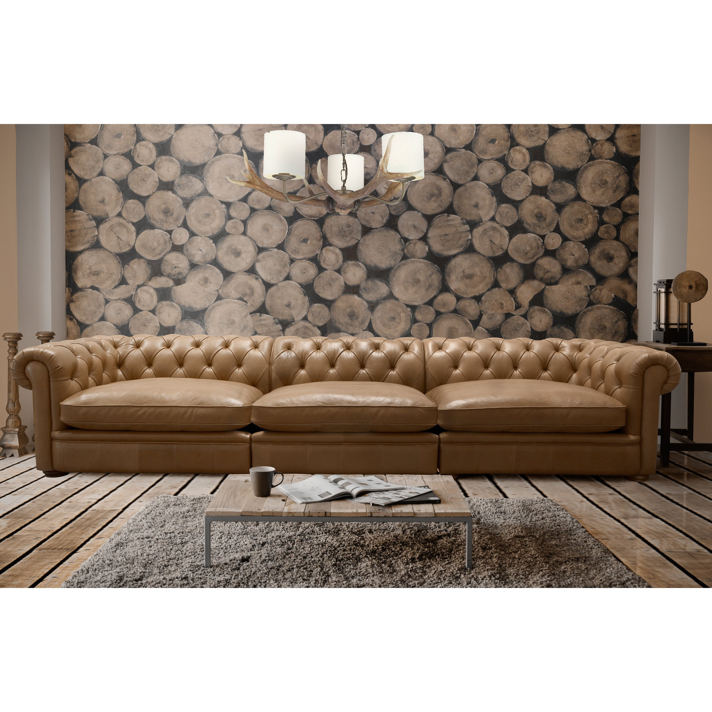 Fashionable Shop Abraham 142 Inch 3 Piece Aurora Honey Leather Sofa Set – Free Intended For Aurora 2 Piece Sectionals (View 9 of 20)
