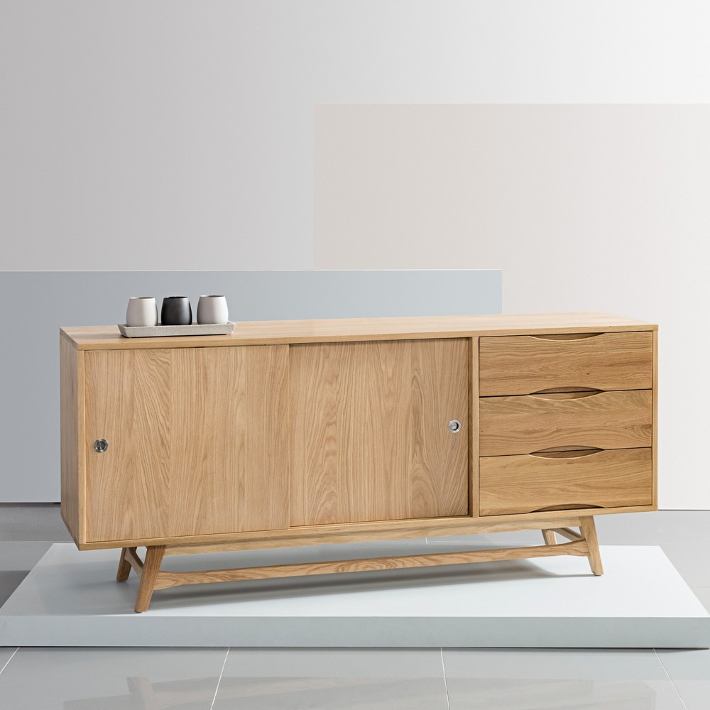 Fashionable Tobias 4 Door Sideboards Intended For Svend Sideboard – Solid Oak – 180X45X80Cm – White/grey Doors – Icon (View 6 of 20)