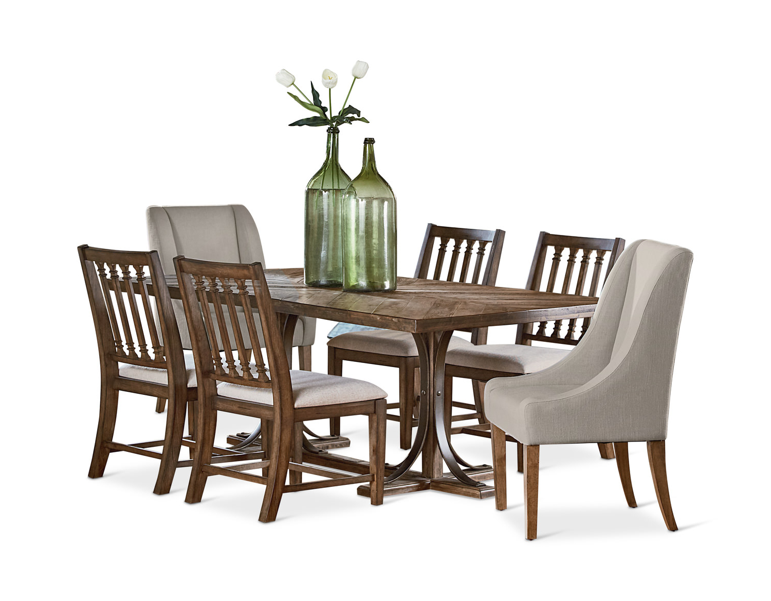 Fashionable Trestle Dining Table With 4 Revival Side And (View 13 of 20)