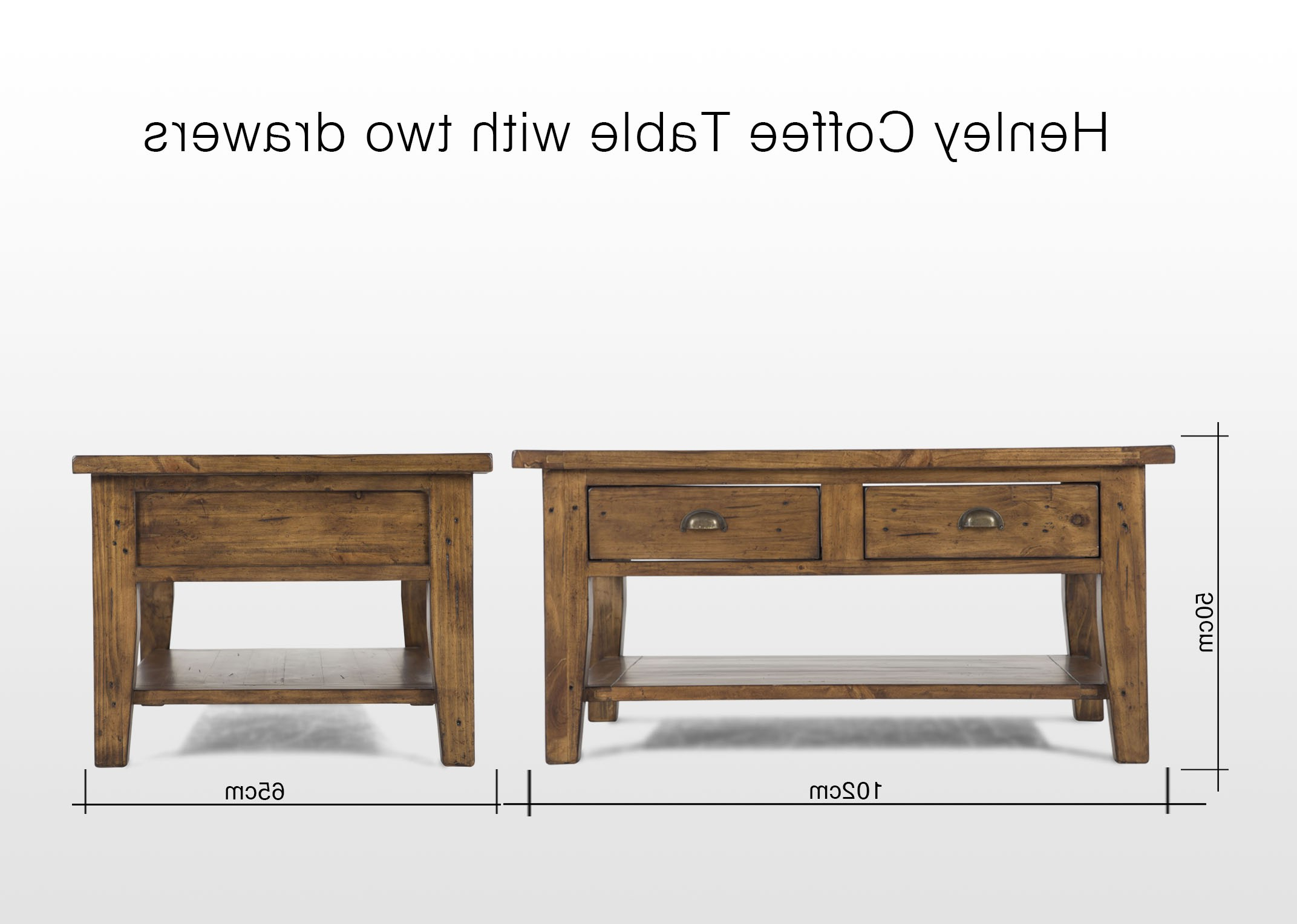 Fashionable Two Drawer One Shelf Reclaimed Pine Coffee Table – Henley – Ez For Reclaimed Pine Coffee Tables (View 19 of 20)
