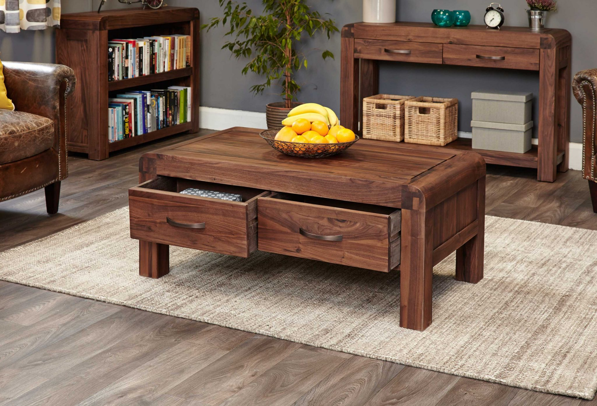 Fashionable Walnut 4 Drawer Coffee Tables For Baumhaus Shiro Solid Walnut Coffee Table – 4 Drawers – Lm Furnishings (View 5 of 20)