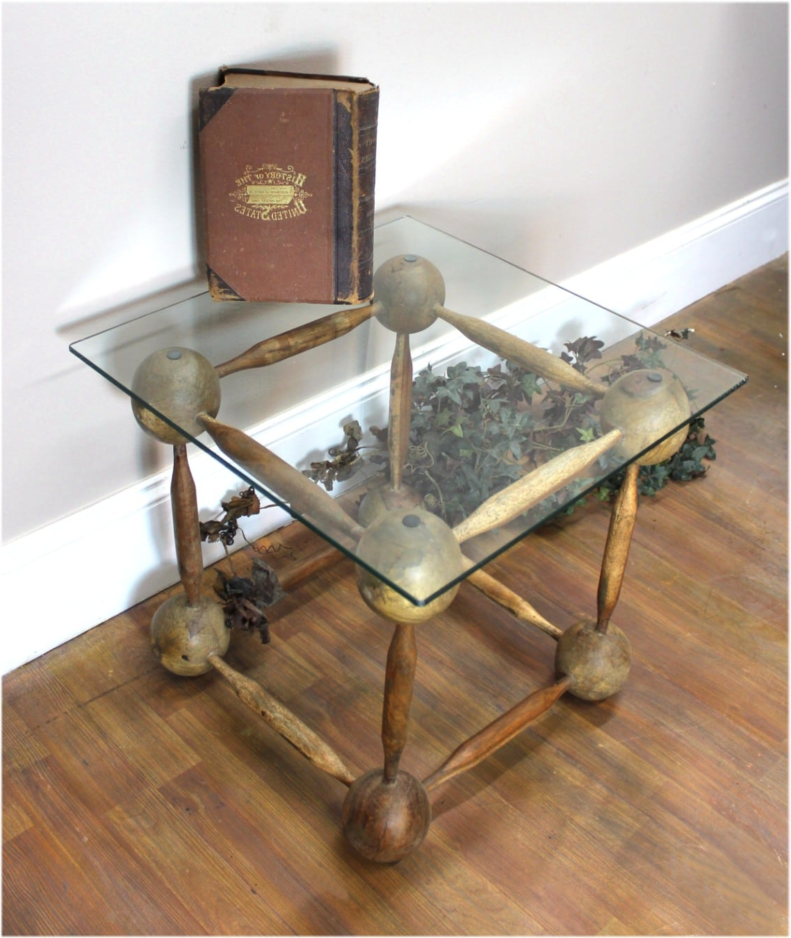 Fashionable Wooden Ball And Spindle Cube Hand Made End Coffee Table Old Finish Inside Aged Iron Cube Tables (Gallery 5 of 20)