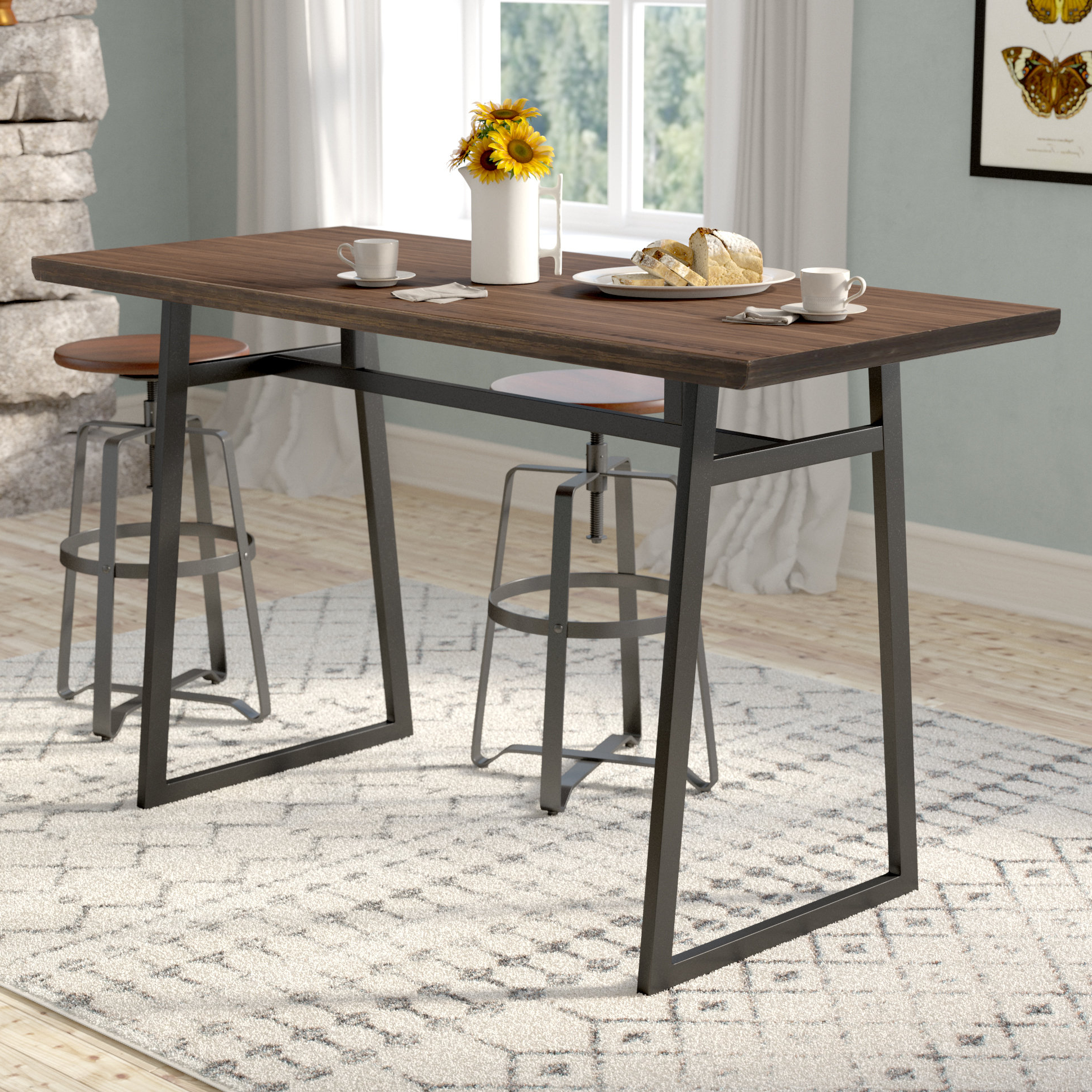 Favorite 33 Inch Industrial Round Tables Pertaining To Gracie Oaks Platane Industrial Counter Height Dining Table & Reviews (View 12 of 20)