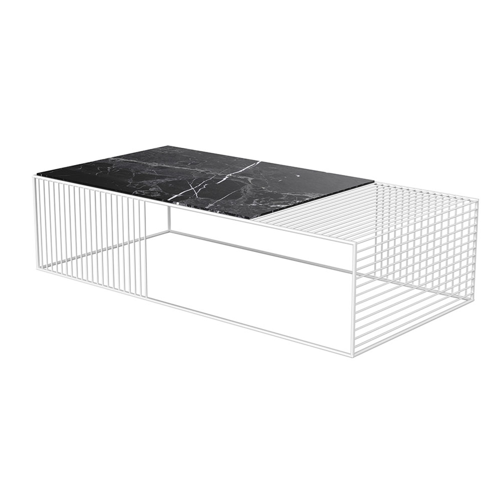 Favorite Black Wire Coffee Tables Within Wire Coffee Table – Black Marble, White – Rouse Home (View 14 of 20)