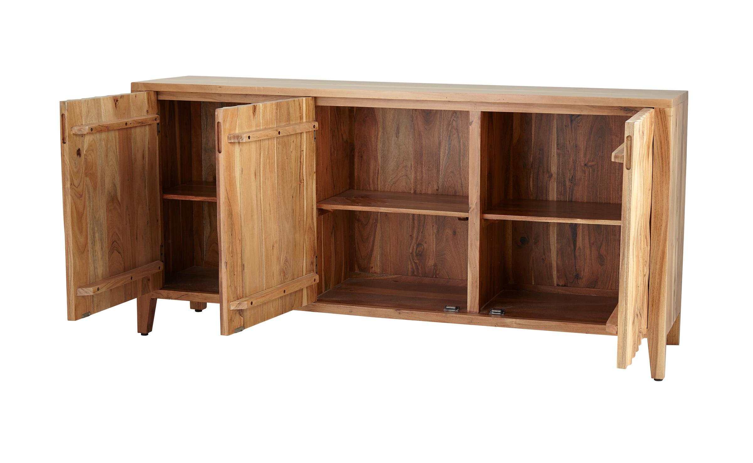 Favorite Decmode Rustic 34 X 72 Inch Brown Wooden Three Door Sideboard In Brown Wood 72 Inch Sideboards (View 5 of 20)