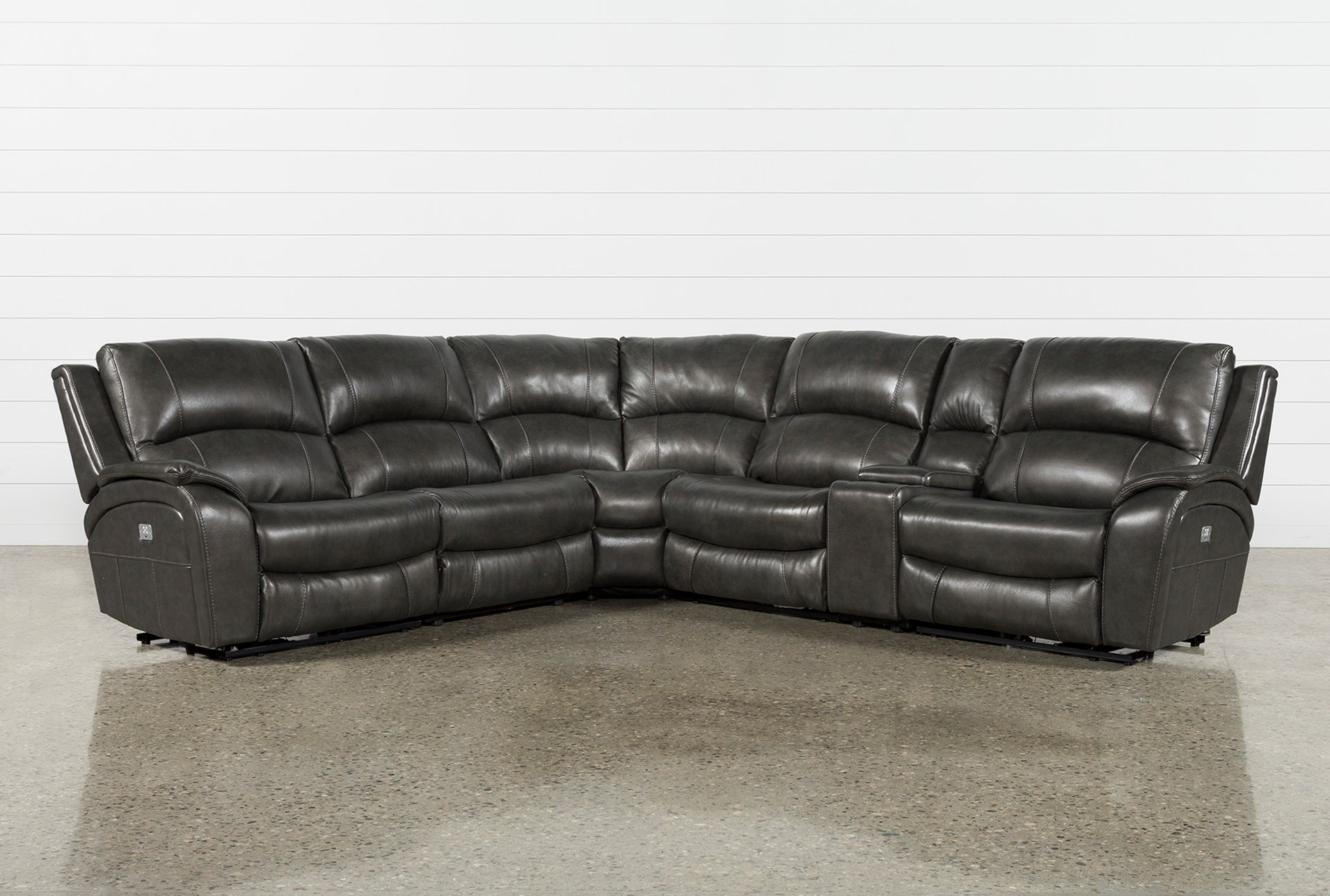 Favorite Grey Leather Reclining Sectional – Tidex Intended For Tatum Dark Grey 2 Piece Sectionals With Raf Chaise (View 6 of 20)