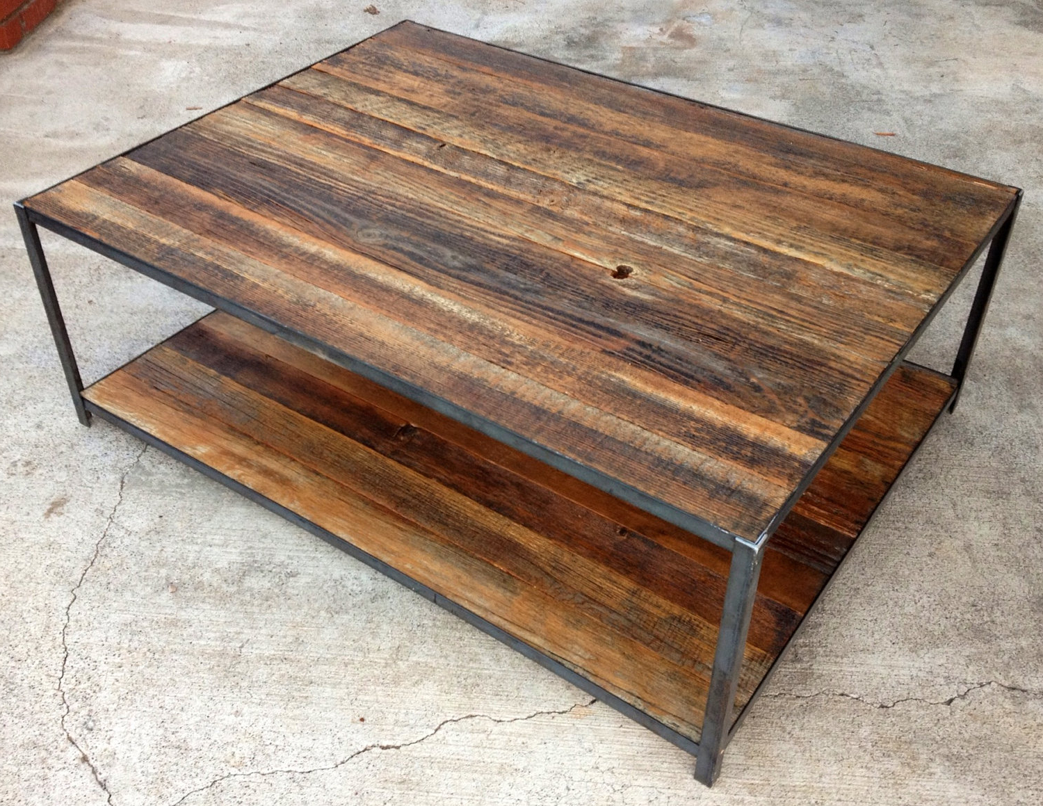 Favorite Iron Wood Coffee Tables With Wheels Intended For Best Reclaimed Wood Coffee Table Diy 53 On Home Design (View 7 of 20)