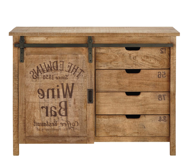 Favorite Mango Wood Grey 4 Drawer 4 Door Sideboards With Regard To Mango Wood 1 Door 4 Drawer Sideboard Germain (Gallery 2 of 20)