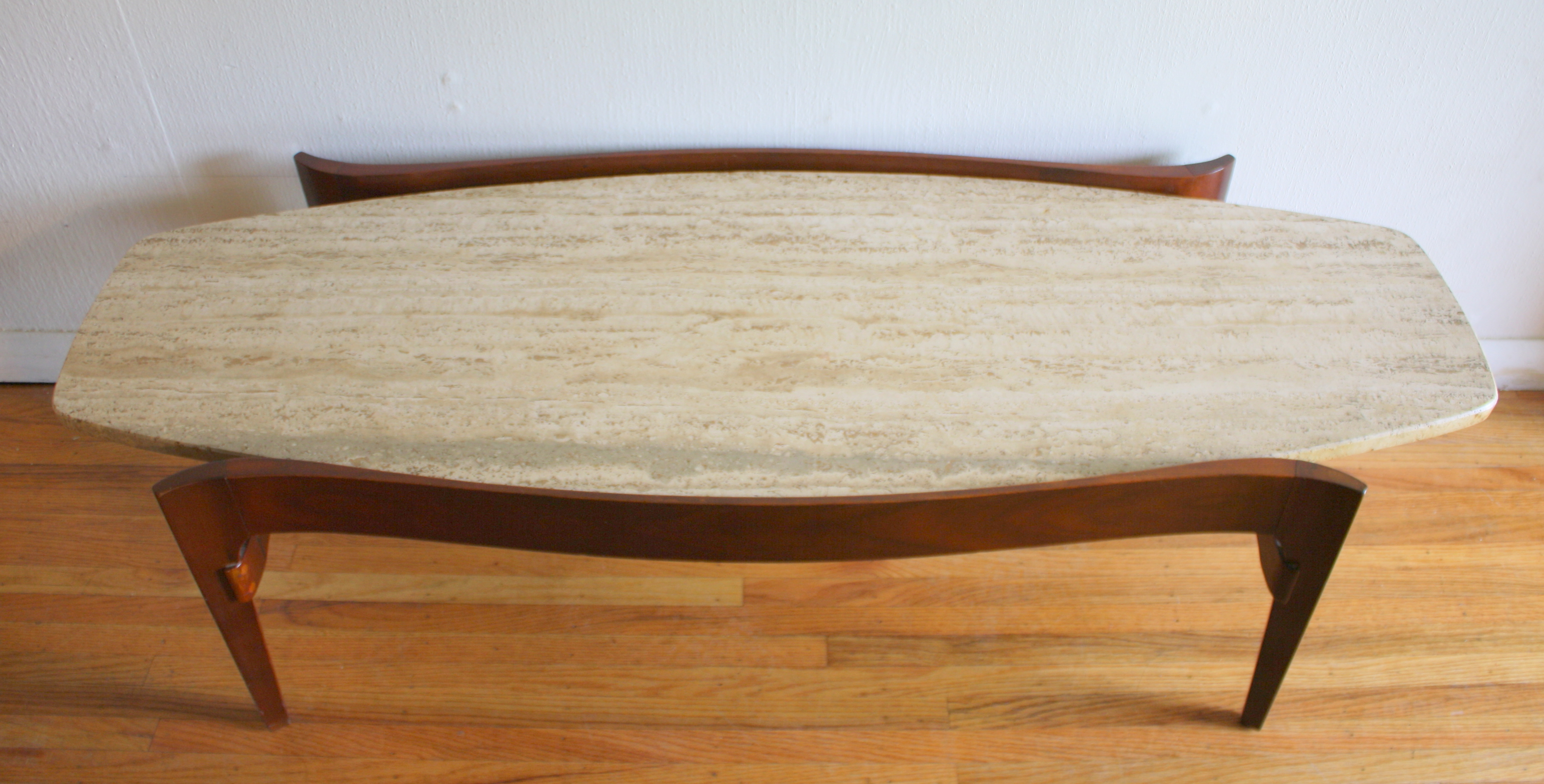 Favorite Mid Century Modern Marble Coffee Tables Pertaining To Mid Century Modern Surfboard Coffee Table With Floating Marble Top (View 6 of 20)