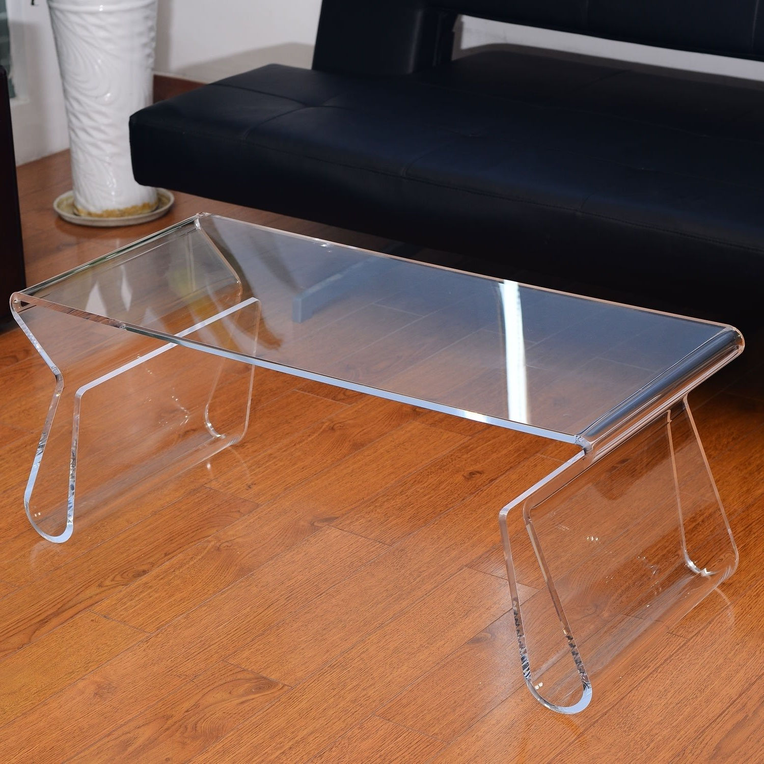 "Favorite Modern Acrylic Coffee Tables Regarding Shop Homcom 38"" Modern Acrylic Coffee Table – Free Shipping Today (View 7 of 20)"
