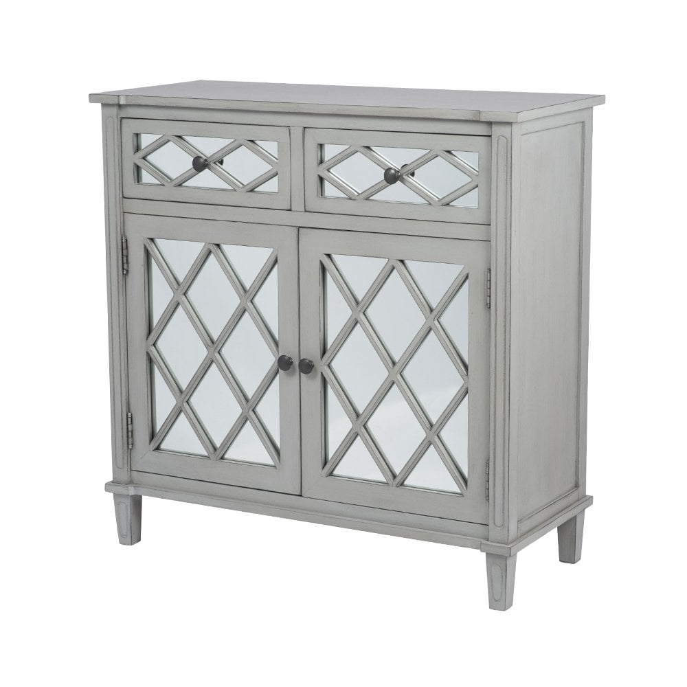 Favorite Puglia Dove Grey Mirrored Pine Wood 2 Drawer 2 Door Unit – Dining Pertaining To 2 Door Mirror Front Sideboards (View 6 of 20)