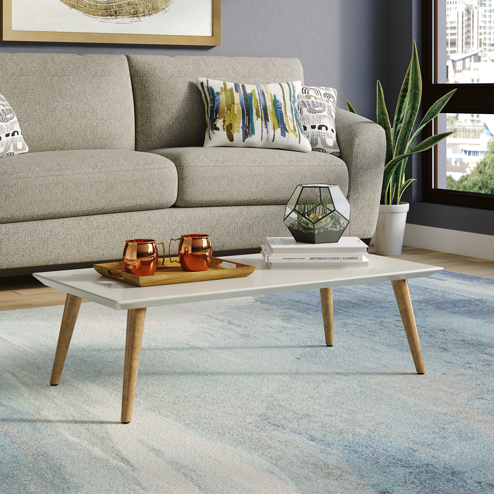 Favorite Rectangular Coffee Tables With Brass Legs Regarding George Oliver Lemington Rectangle Coffee Table With Splayed Legs (View 16 of 20)