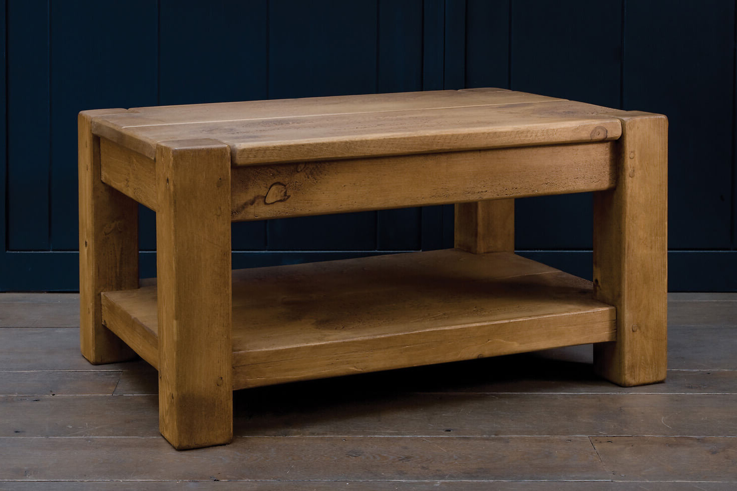 Favorite Rustic Wood Coffee Tables Handmade From Solid Oak Planks (View 13 of 20)
