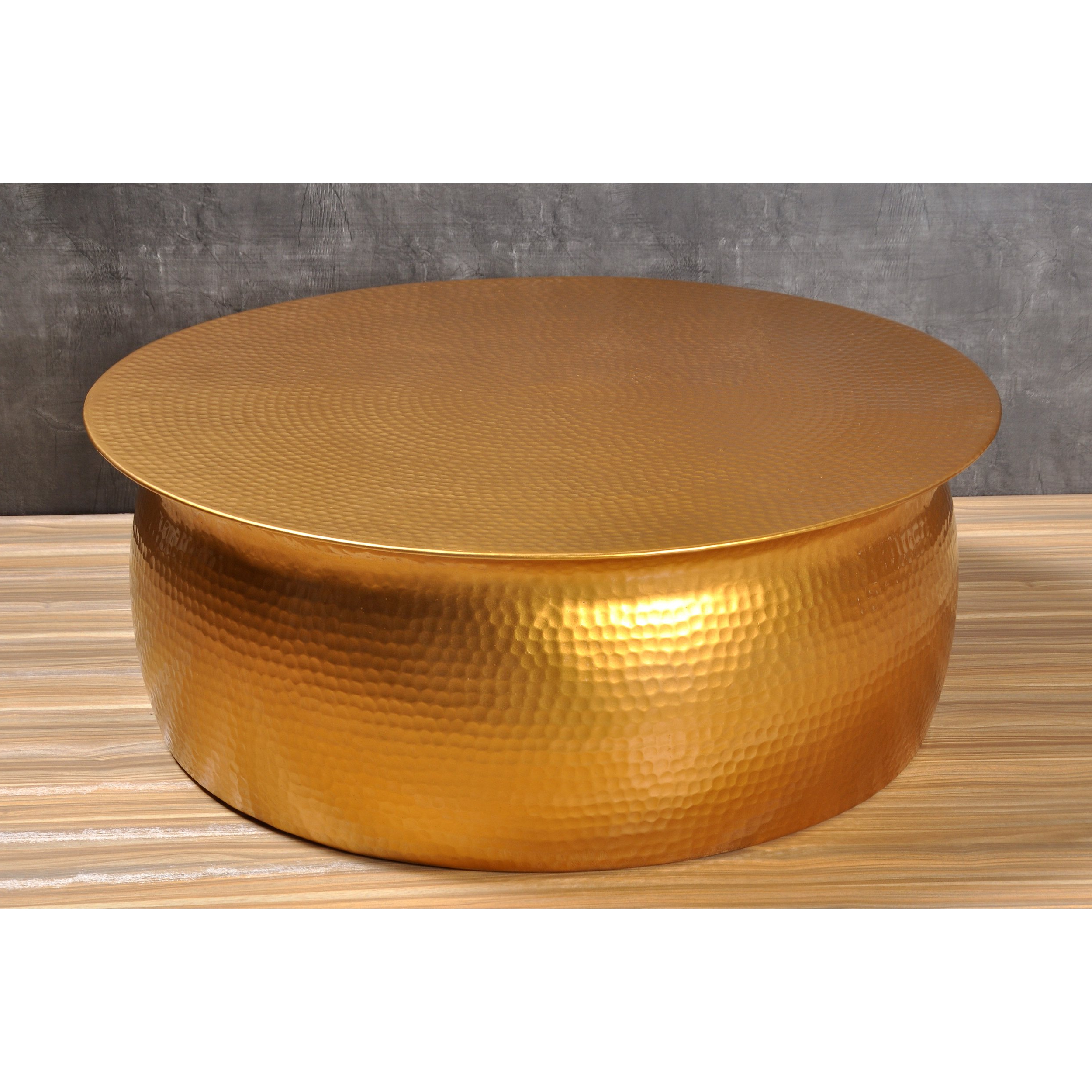 Favorite Shop Amrah Home Goldtone Hammered Aluminum Coffee Table – Free Inside Cuff Hammered Gold Coffee Tables (Gallery 8 of 20)