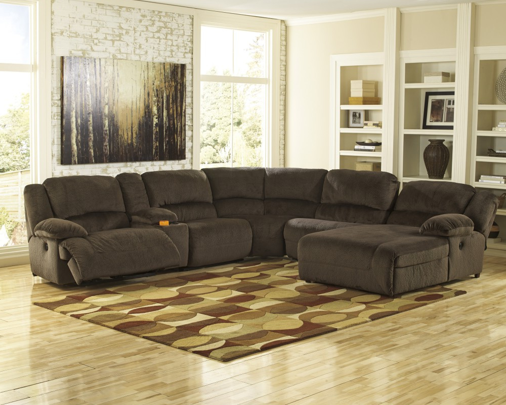 Favorite Toletta – Chocolate 6 Pc. Laf Chaise Reclining Sectional (Gallery 18 of 20)