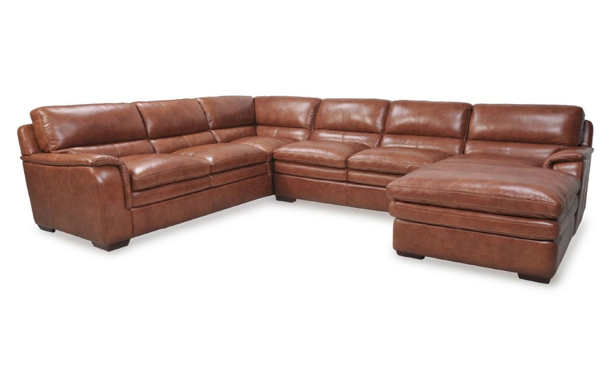 Favorite Venus Brandy Leather Chaise Sectional (View 7 of 20)