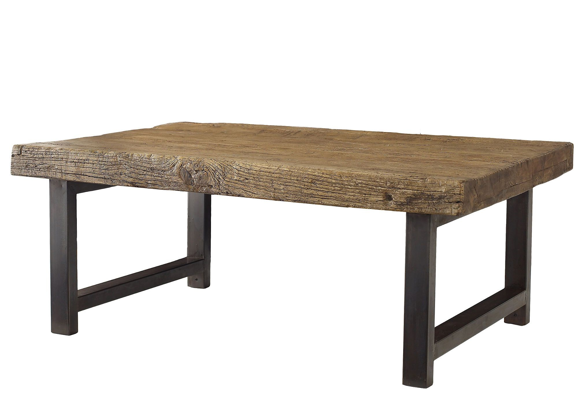 Favorite Weathered To Rustic Perfection, This Reclaimed Elm And Steel Table Inside Reclaimed Elm Iron Coffee Tables (View 7 of 20)