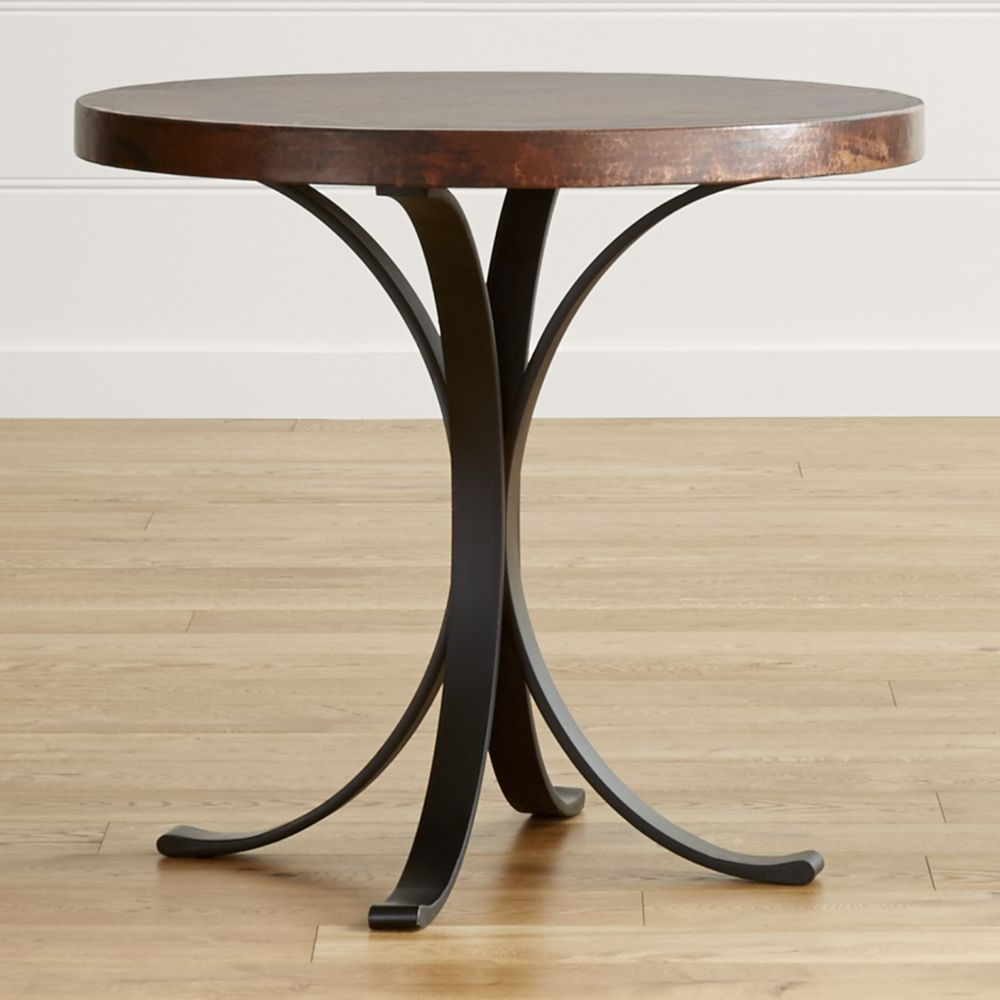 "Flat Black And Cobre Coffee Tables Throughout Well Known Cobre 32"" Round Iron Bistro Table With Copper Top – Crate And Barrel (View 10 of 20)"