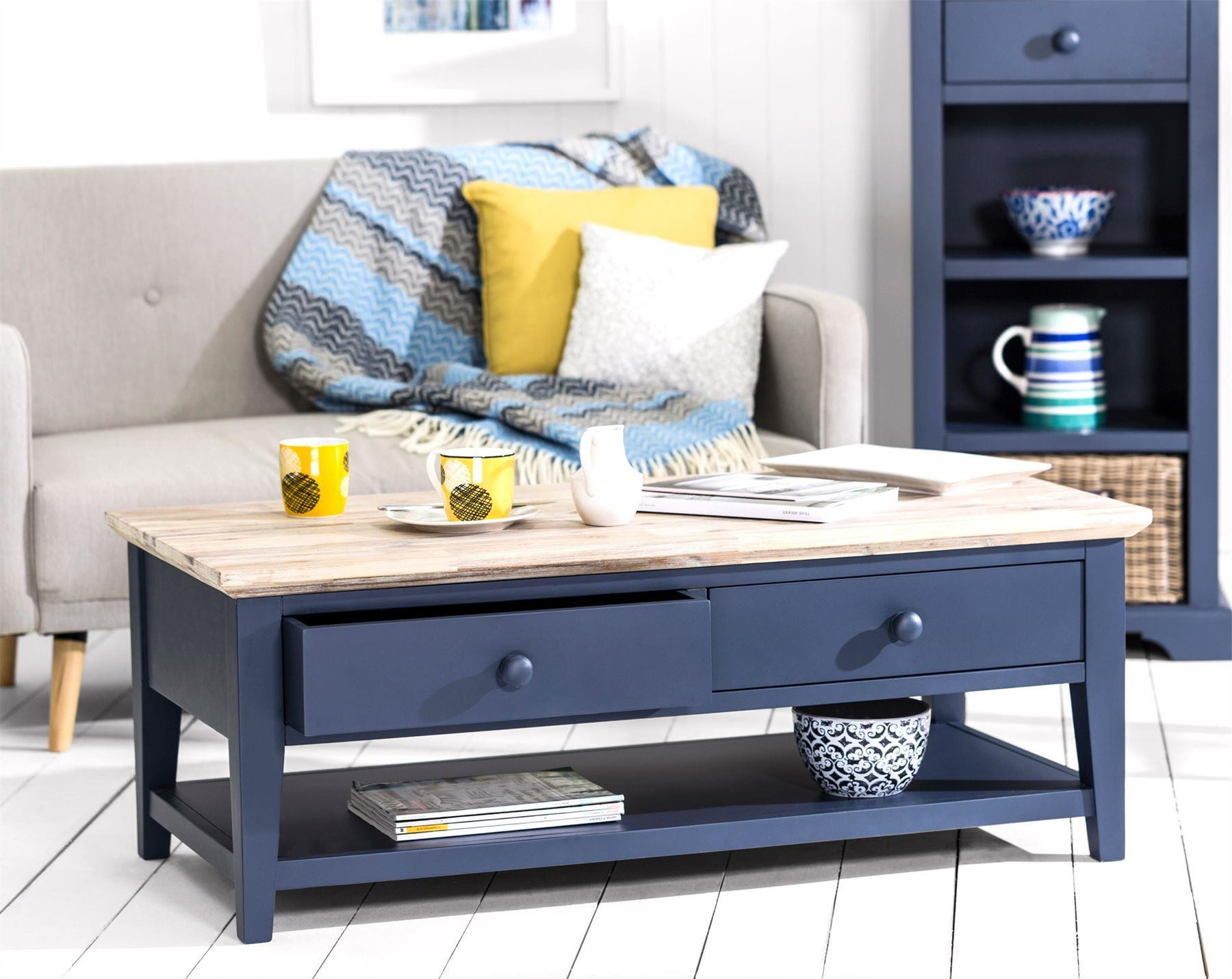 Florence Navy Blue Coffee Table With 2 Drawers And Shelf Throughout Well Liked White Wash 2 Drawer/1 Door Coffee Tables (View 6 of 20)