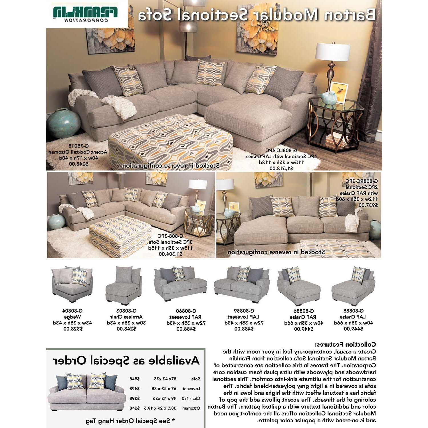 Franklin In Burton Leather 3 Piece Sectionals (View 4 of 20)