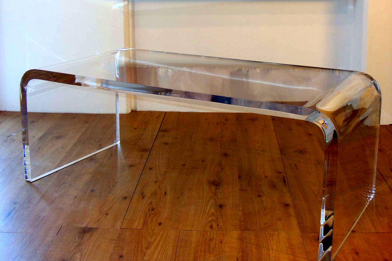 Furniture. Waterfall Acrylic Coffee Table On Wooden Floor As Well As Intended For Favorite Square Waterfall Coffee Tables (Gallery 8 of 20)