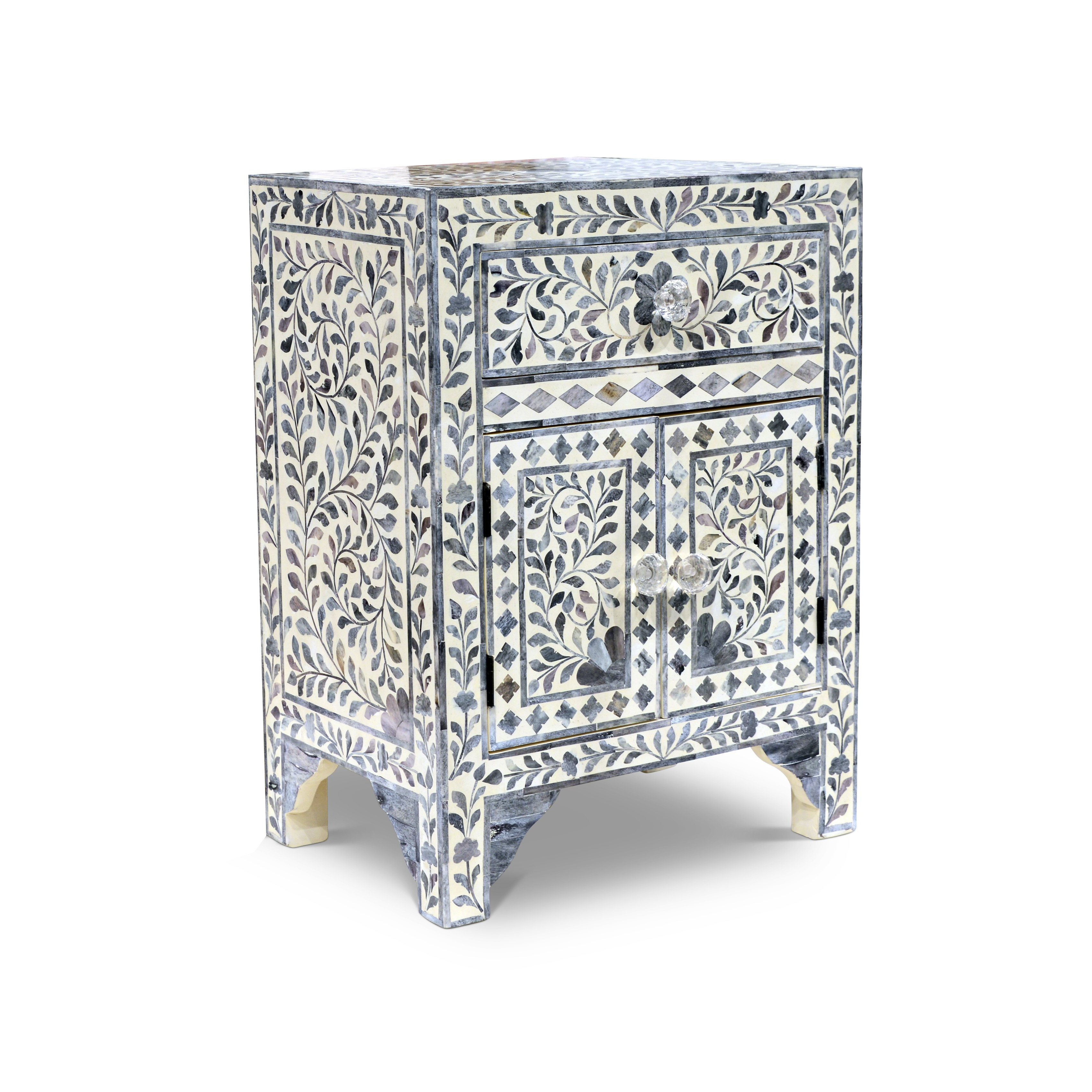 Geo Pattern Black And White Bone Inlay Sideboards Within Most Recent Shop Firoz Bone Inlay Accent Cabinetgreyson Living – On Sale (Gallery 8 of 20)