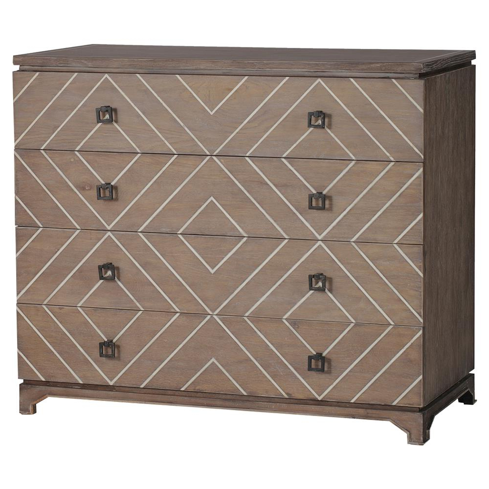 Geo Pattern Black And White Bone Inlay Sideboards Within Most Recently Released Terrance Modern Global Geometric Bone Oak Chest Dresser (View 8 of 20)