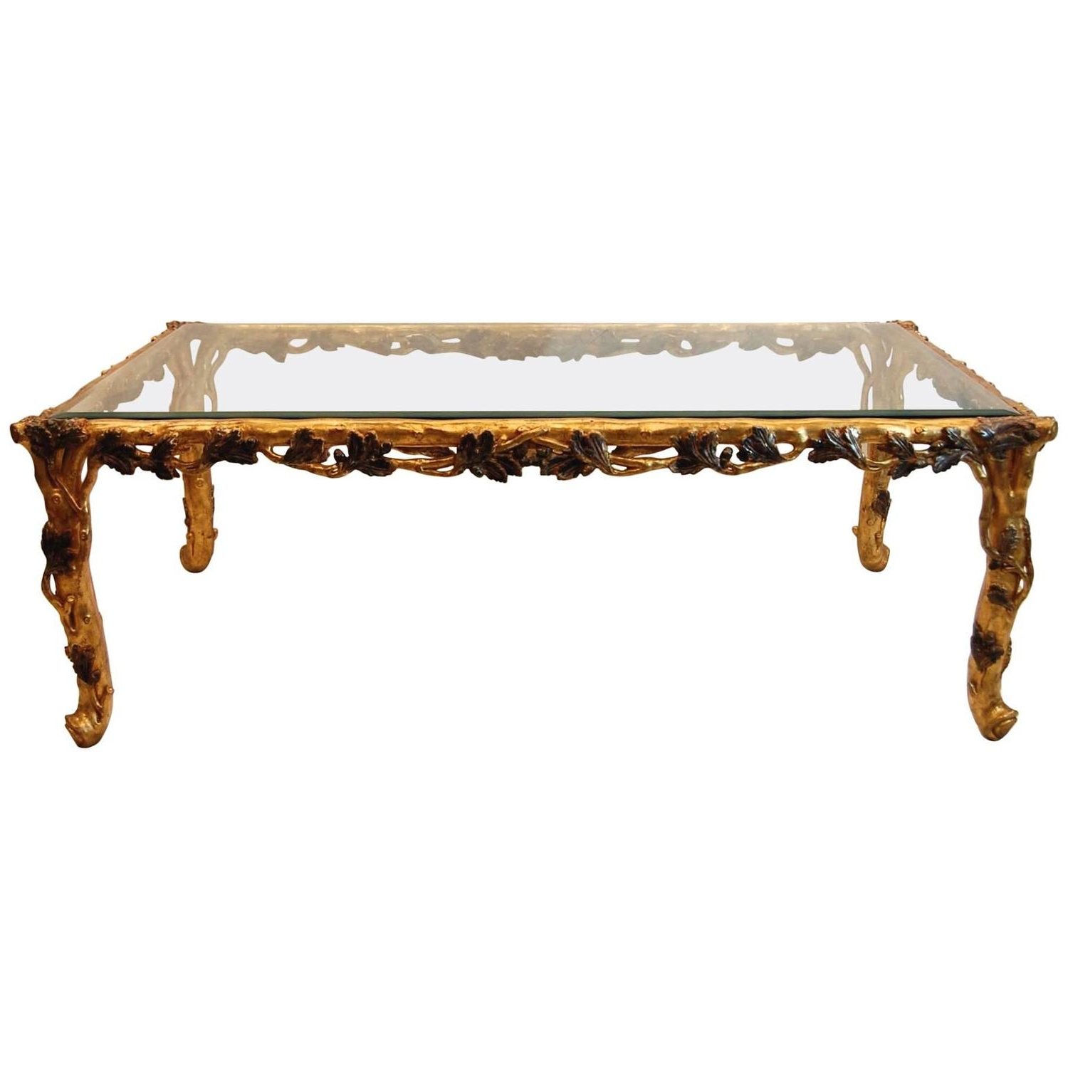 Gold Leaf Coffee And Cocktail Tables – 95 For Sale At 1stdibs For Trendy Gold Leaf Collection Coffee Tables (View 4 of 20)